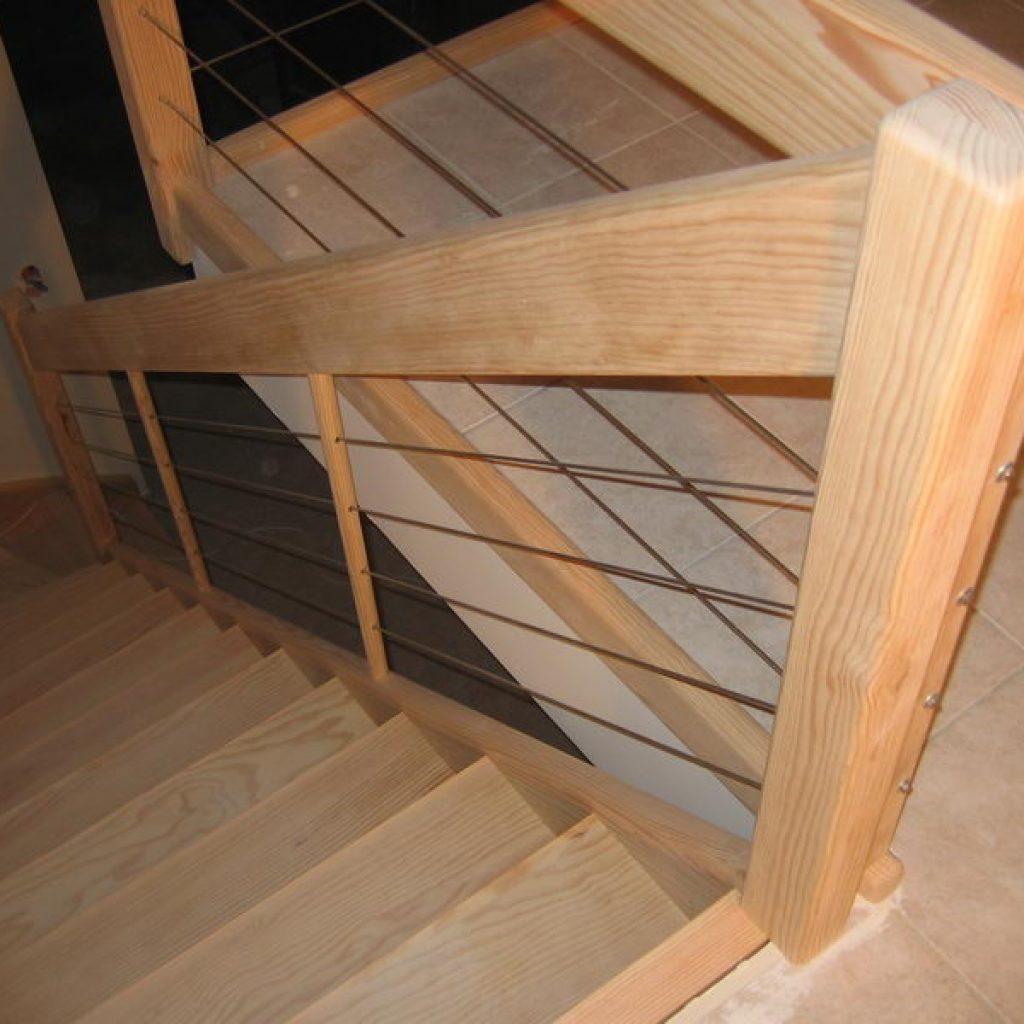 05 03 escalier 1 4 tournant rampe c ble inox espace bois. Black Bedroom Furniture Sets. Home Design Ideas